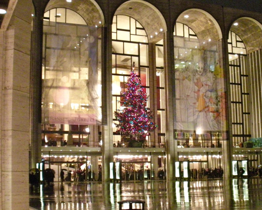 Lincoln Center, home to The Metropolitan Opera, on a cold and rainy December night