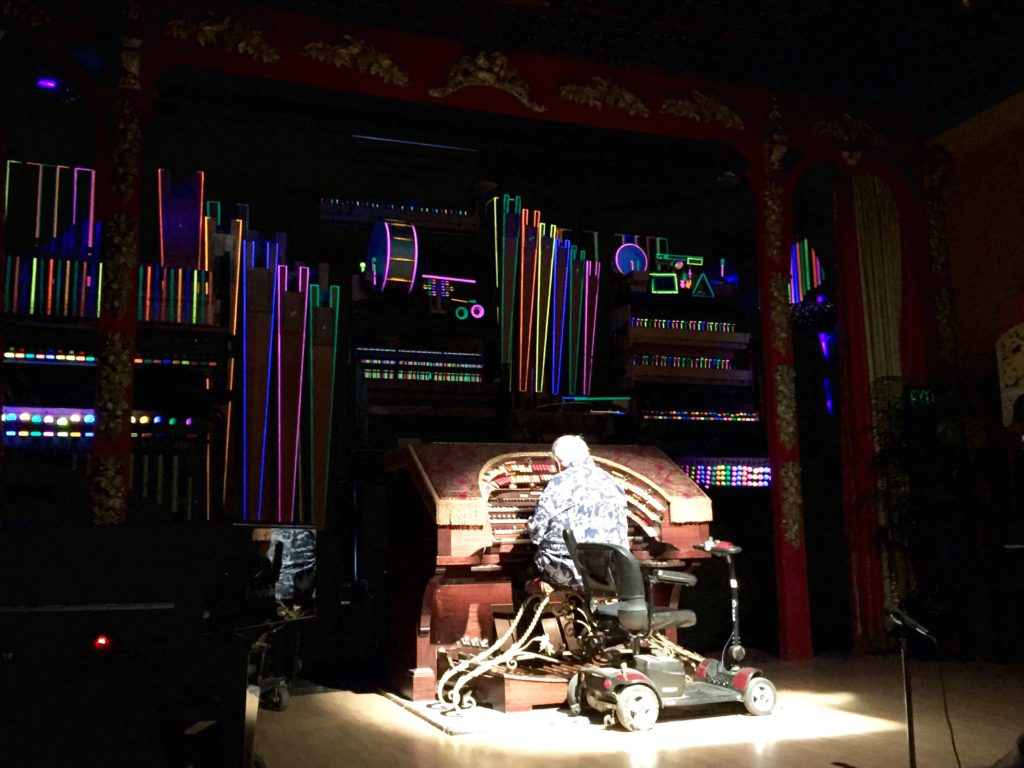 Being treated to the sites and sounds of the 2,600-pipe Wurlitzer!