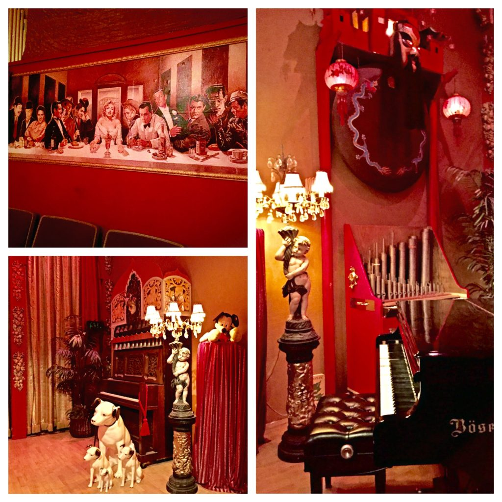 "A gong hangs above the 9-foot Bosendorfer grand piano while the RCA dogs guard the another organ onstage and Marilyn has her ""Last Supper"""