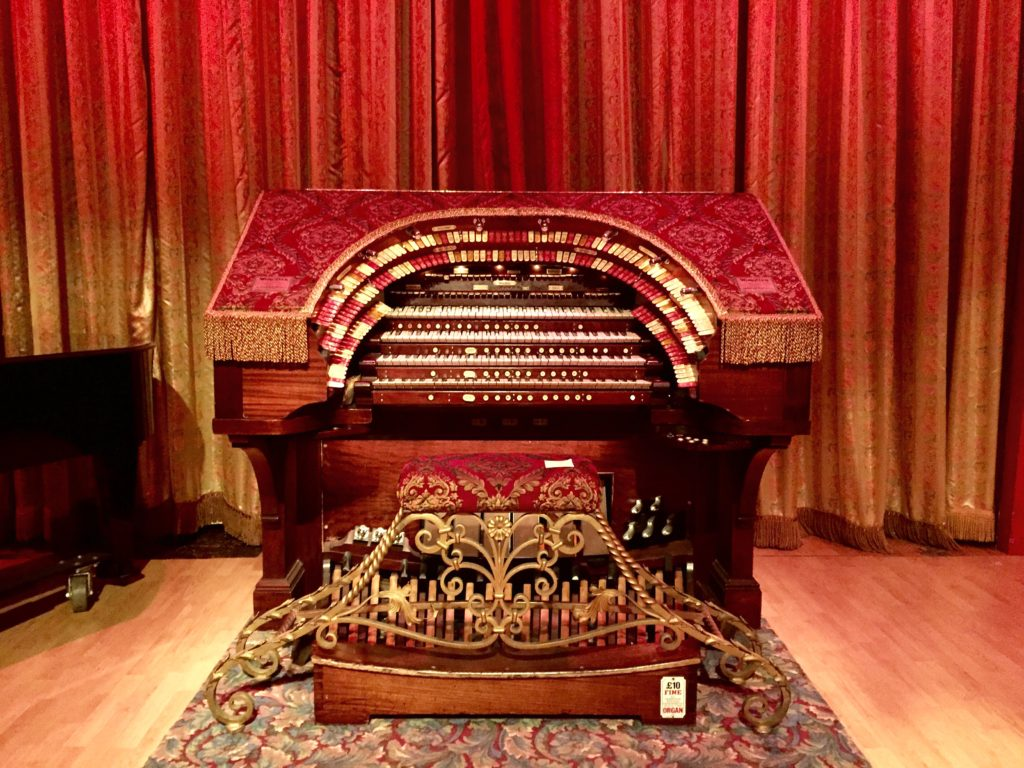 The Wurlitzer console that controls all the pipes and instruments including drums, horns, a marimba, and a xylophone